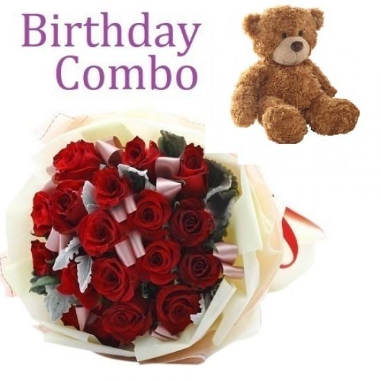 Birthday Package - Rose Bouquet + Teddy Bear 10 Inch