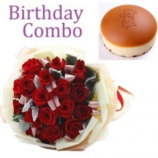 Birthday Package - Rose Bouquet + Cheese Cake