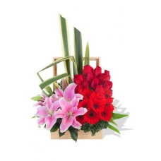 Red Rose and Gerbera Arrangement